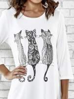 Ecru sukienka damska z nadrukiem kotów
