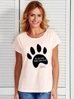 Ecru t-shirt damski z łapką KICI KICI MIAŁ by Markus P                                  zdj.                                  1