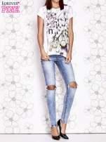 Ecru t-shirt damski z napisem GIRL MEETS BOY                                  zdj.                                  7