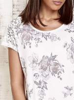 Ecru t-shirt w kwiaty                                                                          zdj.                                                                         5