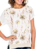 Ecru t-shirt w kwiaty z łączonych materiałów                                  zdj.                                  5