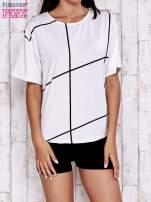 Ecru t-shirt z geometrycznym motywem                                  zdj.                                  1