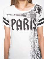 Ecru t-shirt z motywem Paryża                                  zdj.                                  6