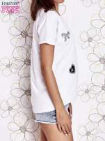 Ecru t-shirt z motywem serca i kokardki                                                                          zdj.                                                                         3