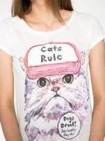 Ecru t-shirt z nadrukiem kota i napisem CATS RULE                                  zdj.                                  5