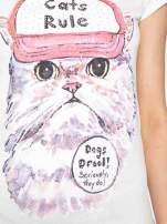 Ecru t-shirt z nadrukiem kota i napisem CATS RULE                                  zdj.                                  8