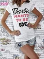 Ecru t-shirt z napisem BARBIE WANTS TO BE ME                                  zdj.                                  1