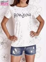 Ecru t-shirt z napisem BONJOUR                                                                          zdj.                                                                         1