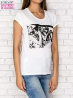 Ecru t-shirt z napisem GANG                                  zdj.                                  3