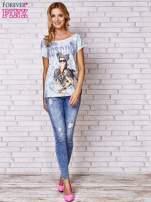 Ecru t-shirt z napisem MOSCINO                                  zdj.                                  4