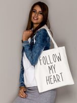 Ecru torba materiałowa FOLLOW MY HEART                                  zdj.                                  1