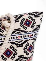 Ecru torba plażowa w azteckie wzory