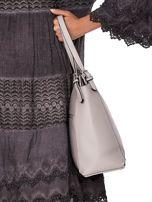 Elegancka jasnoszara torba z eko skóry z logo                                  zdj.                                  3