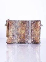 Elegancka kopertówka z motywem wężowej skóry srebrna                                  zdj.                                  2