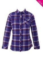 Fioletowa koszula w kratę z kieszonką z przodu                                  zdj.                                  3