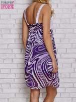 Fioletowa sukienka przed kolano na cienkich ramiączkach                                  zdj.                                  2