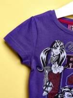 Fioletowy t-shirt dla dziewczynki MONSTER HIGH z brokatowym nadrukiem                                                                          zdj.                                                                         3