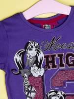 Fioletowy t-shirt dla dziewczynki MONSTER HIGH z brokatowym nadrukiem                                                                          zdj.                                                                         4