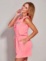 Fluo różowa sukienka z troczkami                                  zdj.                                  6