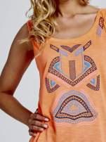 Fluopomarańczowy top z nadrukiem w azteckie wzory z przodu                                  zdj.                                  5