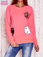 Fluoróżowa bluza z kocimi motywami                                  zdj.                                  1