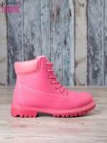 Fuksjowe jednolite buty trekkingowe damskie traperki ocieplane                                                                           zdj.                                                                         1