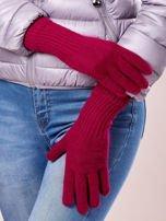 Fuksjowe rękawiczki z długim ściągaczem                                  zdj.                                  1