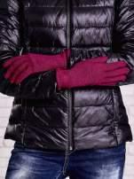 Fuksjowe rękawiczki z metalizowaną nicią z wywijanym mankietem                                  zdj.                                  2