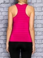 Różowy top sportowy V-neck w paseczki                                                                          zdj.                                                                         4