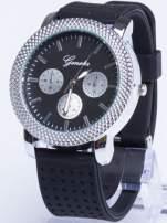 GENEVA Czarno-srebrny zegarek damski na miękkim żelowym pasku