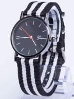 GENEVA Czarny zegarek unisex z modnym materiałowym kolorowym paskiem                                                                          zdj.                                                                         1