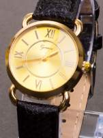 GENEVA Damski zegarek ze złotą tarczą na czarnym, skórzanym pasku                                  zdj.                                  1