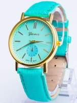 GENEVA Miętowy zegarek damski na skórzanym pasku