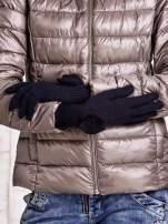 Grafitowe rękawiczki z kokardką i długim ściągaczem