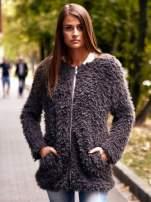 Grafitowy futrzany sweter kurtka na suwak                                  zdj.                                  1