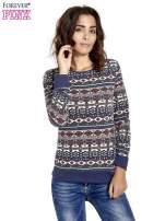 Granatowa bluza w azteckie wzory                                  zdj.                                  1