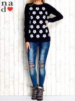 Granatowa bluza z nadrukiem kwiatów                                                                          zdj.                                                                         2