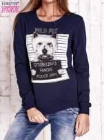 Granatowa bluza z nadrukiem psa                                  zdj.                                  1