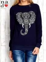 Granatowa bluza z nadrukiem słonia                                                                          zdj.                                                                         1