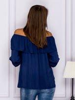 Granatowa bluzka hiszpanka z podwijanymi rękawami                                  zdj.                                  2