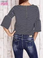 Granatowa bluzka w paski z suwakiem na plecach                                  zdj.                                  2
