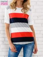 Granatowa bluzka z kolorowymi szerokimi pasami                                                                          zdj.                                                                         1