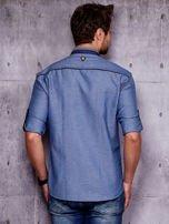 Granatowa denimowa koszula męska z zamszowymi wstawkami PLUS SIZE                                  zdj.                                  2