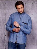 Granatowa denimowa koszula męska z zamszowymi wstawkami PLUS SIZE                                  zdj.                                  6
