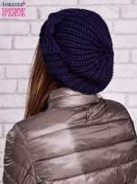 Granatowa dzianinowa czapka z kokardą                                  zdj.                                  3