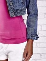 Granatowa jeansowa kurtka z kieszeniami i dekatyzacją                                                                          zdj.                                                                         7