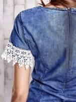Granatowa jeansowa tunika z koronkowym wykończeniem                                  zdj.                                  8