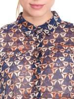 Granatowa koszula mgiełka w geometryczne wzory                                  zdj.                                  6