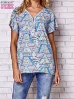 Granatowa koszula w geometryczne wzory                                                                          zdj.                                                                         1