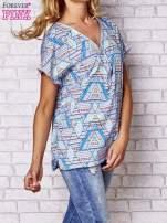 Granatowa koszula w geometryczne wzory                                                                          zdj.                                                                         3